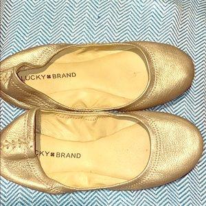 Gold Lucky Ballet Flats